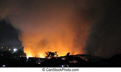 Night Fire Burns Out Of Control - Wild fires burn out of...