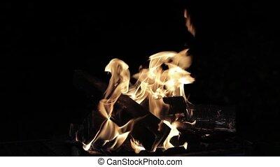 Night fire in slow motion
