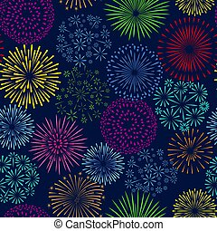 Night firework seamless pattern. Celebration fireworks vector background