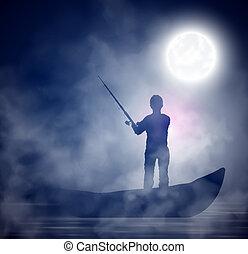 Night fishing - Fisherman on the boat; night, fog. Eps 10