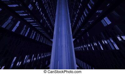 """Night flight between high-rise buildings"" - ""Night flight..."
