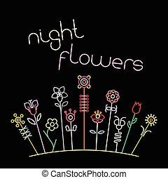 Night Flowers Vector Illustration