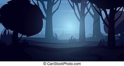 Night Forest landscape Background in the moon light. Vector Illustration.