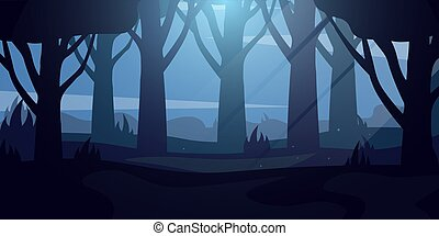 Night Forest landscape Background in the moonlight Vector Illustration.