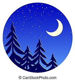 Night forest landscape with moon and stars.