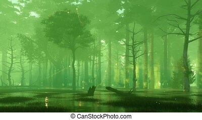 Night forest swamp with magical firefly lights 4K -...