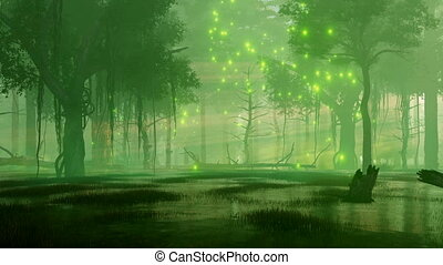 Mysterious forest swamp with magical firefly lights soaring in the air at dark misty night. Fantasy 3D animation rendered in 4K