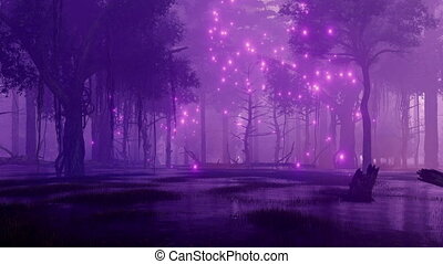 Night forest swamp with mystical firefly lights 4K
