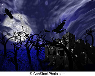 Night forest with castle and ravens