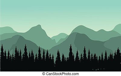 Night forest with fir trees silhouettes