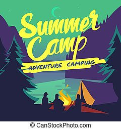 Night forest with moonlight and campfire summer adventure camping vector poster