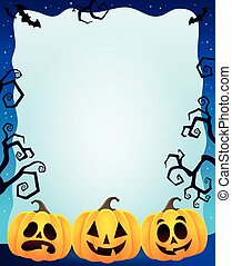 Night frame with Halloween pumpkins