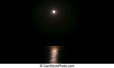 night full moon over sea 4k