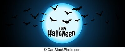 night full moon with flying bats halloween background