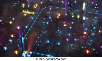 Night Future City with flying cars and sci-fi transport. 4k...
