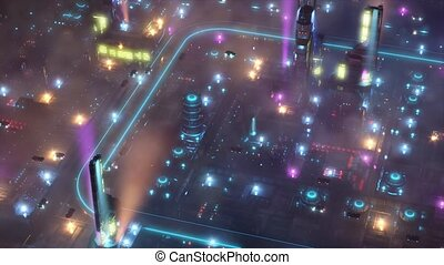 Night Future City with flying cars and sci-fi transport. 4k animation