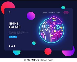 Night Games concept banner. Gamer Neon Sign, can use for web banner, infographics, website template. Gamepad in Hand, Video Game concept. Vector illustration isolated