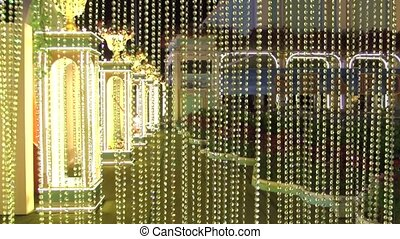 night garden crystal chain mobile moving and warm light