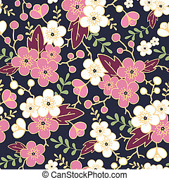 Night garden sakura blossoms seamless pattern background - ...