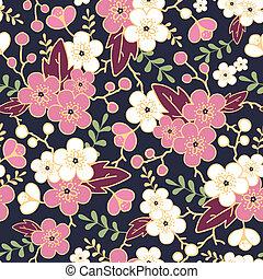 Night garden sakura blossoms seamless pattern background -...