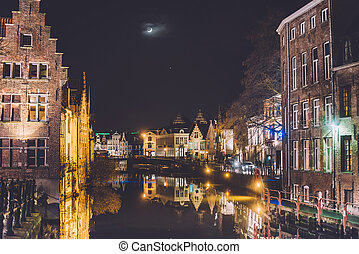 Night Ghent Canal in Old Town