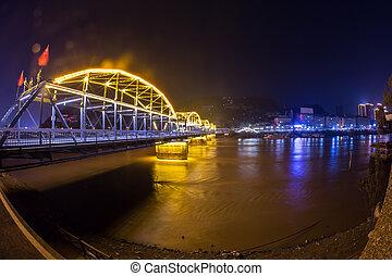 night glowing Chinese city