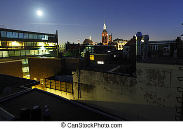 Night Hague - Night view of Hague and Sint-Jacobskerk church