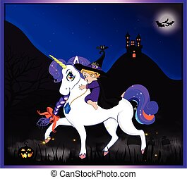night halloween witch unicorn 4.eps