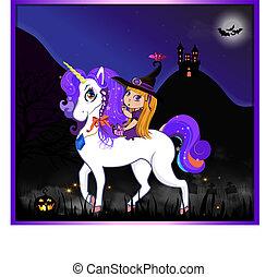 night halloween witch unicorn2.eps