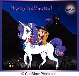 night halloween witch unicorn3.eps