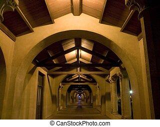 Night hallway - hallway in Stanford University Ca, at night