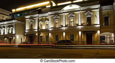 Night highlighting street in Moscow