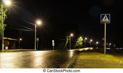 Night highway in the summer