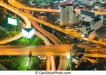 Night highway intersection aerial view