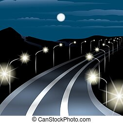 Night Highway - Highway at midnight against mountain...