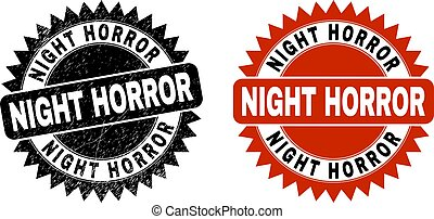 NIGHT HORROR Black Rosette Watermark with Unclean Style