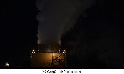 night., huile, raffinerie gaz, usine