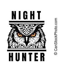 Night hunter, owl head T-shirt print design. Vector illustration.