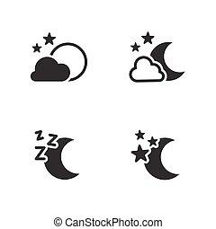 Night icons set