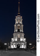 night., iglesia, voskresenskiy, torre, campana, catedral