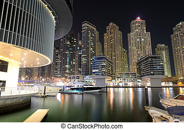 Night illumination at Dubai Marina.