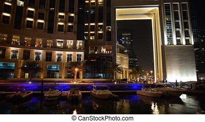 night illumination of Dubai Marina - The night illumination...