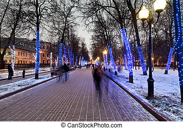 night illumination of Moscow boulevard - christmas night...