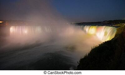 Night illumination of Niagara Falls