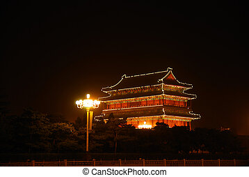 Night illumination of temple