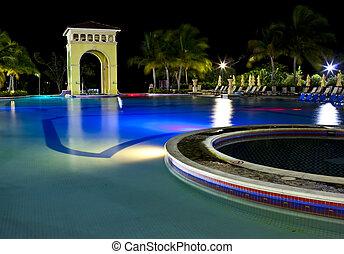night illumination pool