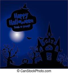 Night illustration, city holiday Halloween, on a dark blue background,