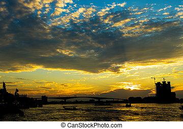 Night in Bangkok and Chopraya river, Thailand