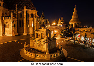 Night in Castle District of Budapest City