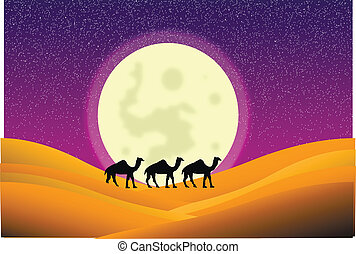 Night in desert with camels and big moon